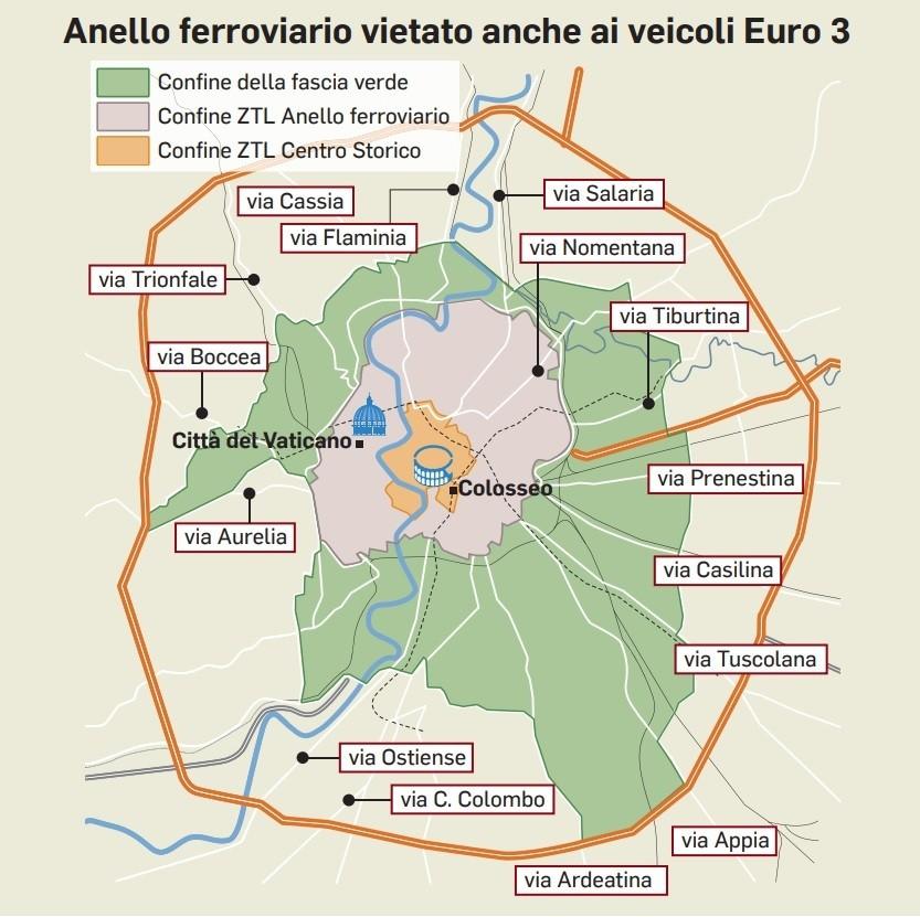 Stop alle auto a Roma